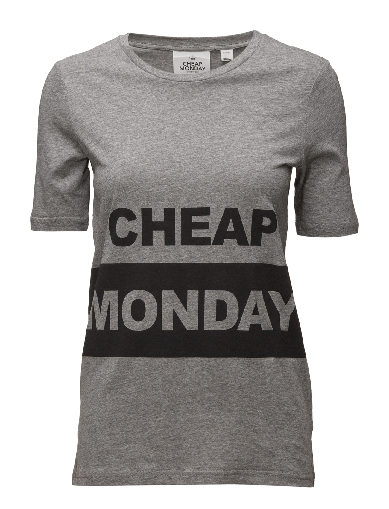 Break Tee Block Logo Cheap Monday Kortærmede til Kvinder i Grey Melange