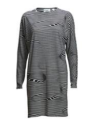 Assy stripe dress Liquid stripe - WHITE