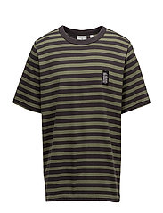 Boxer tee Classic stripe - Bleached olive
