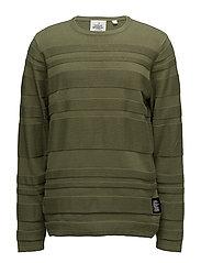 Enchant knit Irregular stripe - Bleached olive