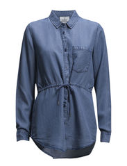 Gather shirt - Bay blue