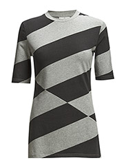 Affect tee Diagonal stripe - Pre grey melange/Used black