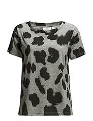 Mine tee Smudgy leopard - black/grey