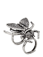 Fly hinge ring - silver