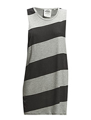 Trouble tank Diagonal stripe - Pre grey melange/Used black
