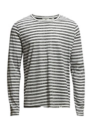 Com LS tee Inside stripe - White