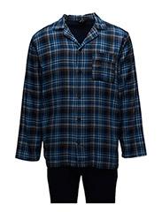 Herre Flannel Pyjamas - BLUE/ NAVY PATTERN