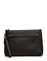 Pouch In Pebbled Leather - BLACK