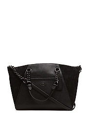 Mixed Leather Chain Prairie Satchel Refresh - DK/BLACK
