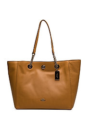 Polished Pebble Lthr Turnlock Chain Tote - SV/LIGHT SADDLE