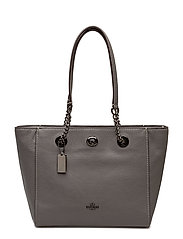 Polished Pbble Lthr Turnlock Chain Tote 27 - DK/HEATHER GREY