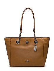 Coach - Polished Pbble Lthr Turnlock Chain Tote 27