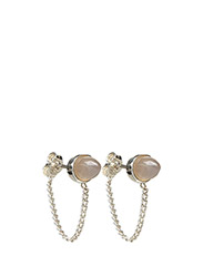CHARMED AGATE CHAIN EARRING - 20 SILVER PLATED