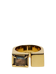 SLIZED SQUARE RING LARGE - GOLD PLATED