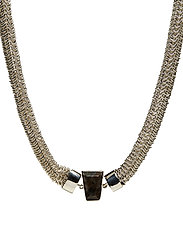 STONED NECKLACE LARGE - SILVER PLATED