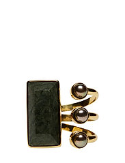STONED OPEN RING LARGE - GOLD PLATED