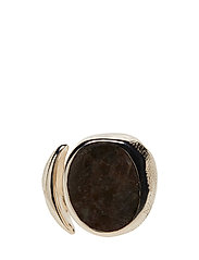 MOLDED STONE SIGNET RING - ROUND - STERLING SILVER