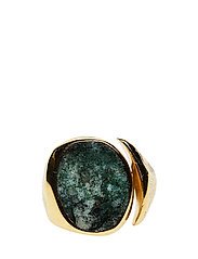MOLDED STONE SIGNET RING - ROUND -S - 52 GOLD PLATED