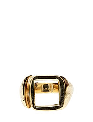 MOLDED CUTOUT SIGNET RING -SQUARE -S - 52 GOLD PLATED