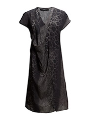 Draped dress w. snake print - SNAKE PRINT GREEN/GREY