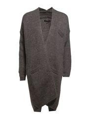Knit cardigan w. tape back - Light grey melang