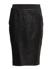 Leather skirt w. jersey back - Black