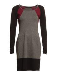 Knit color block dress - Bordeaux/red