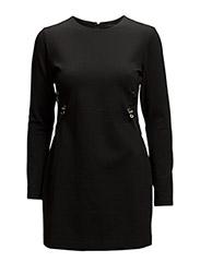 Jersey dress w. zipper detail - BLACK