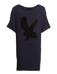 Oversize t-shirt w. velvet - Dark navy