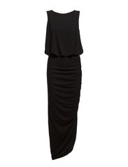 Maxi dress w. back sequins strap - Black