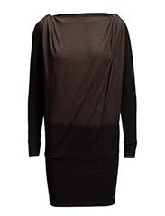 Jersey dress w. cobber print - BLACK