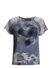 Top with world print - World print blue