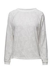 Long sleeve cotton jacquard top - WHITE