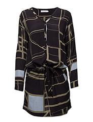 Dress w. square print - SQUARE PRINT DARK BLUE