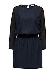 Dress w. chiffon sleeve - DARK BLUE/BLACK