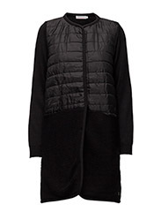 Quilted long jacket w. knit - BLACK