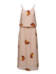 Long dress w. fan flower print - FAN FLOWER PRINT PEARL ROSE