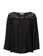 Top w. leaf fabric and wrinkel - BLACK
