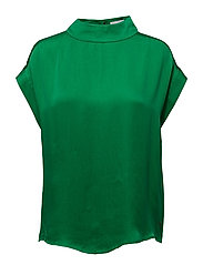 Short sleeve top w. high collar - GRASS GREEN