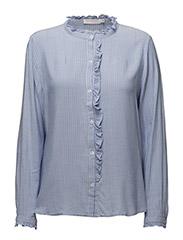Stripe shirt w. front ruffle - WIDE STRIPE POWDER BLUE