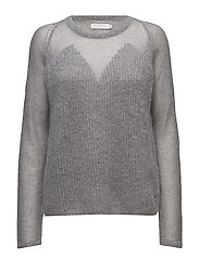Thick and thin kid mohair knit top - MEDIUM GREY