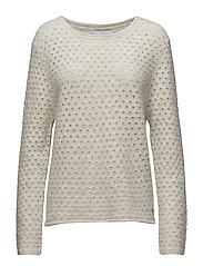 Mohair knit top w. hole - SNOW WHITE MELANGE