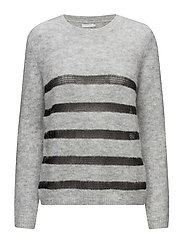 Mohair knit top w.stripes - LIGHT GREY MELANGE