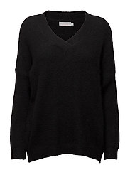 Mohair top w. V-neck - BLACK