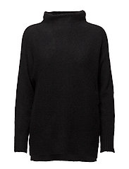 Mohair knit w. turtle neck - BLACK