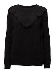 Knit top w. ruffle - BLACK