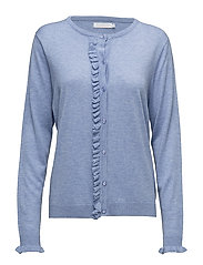 Cashmere knit cardigan w. ruffle fr - POWDER BLUE MELANGE