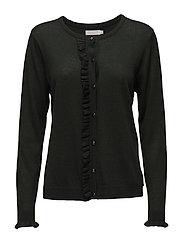 Cashmere knit cardigan w. ruffle fr - STONE GREEN