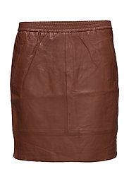 Leather skirt - DARK MARSALA