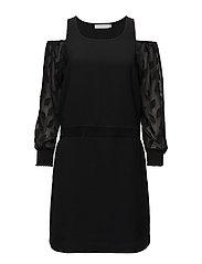 Dress w. leaf cut out sleeve - BLACK